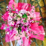Magenta Mokara Orchids, Hot Pink Peony, Blush Pink Roses, Pale Pink Hydrangea, Pink Leptospermum, Grape Koolaide Passion Flower by Glenwood Weber Design