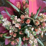 Peach Stock, Isle Spray Roses, White Veronica, Simply Designed by Glenwood Weber Design