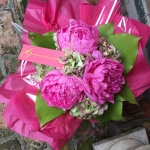 Bubble Gum Pink Gigantic 8in Peony, Antique Mauve Extra Fancy Hydrangea, Apple Green Hosta Foliage by Glenwood Weber Design