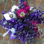 Raspberry Stock, Cobalt Blue Hybrid Delphinium, Baby Blue Hydrangea and White Narcissus Blooms by Glenwood Weber Design