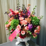 Limelight Hydrangea, Coral Yarrow, Ilse Peach Spray Roses, Pink Larkspur, Violet Stock and Garden Cut Zinnias by Glenwood Weber Design