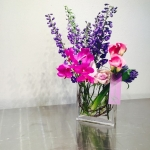 Violet Vanda Orchids, Royal Purple Delphinium, Magenta Calla Lillies, Lilac Roses and Blue Hyacinth in Contemporary Everyday Flowers by Glenwood Weber Design