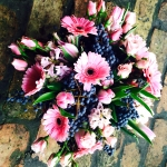 Pink Petaled Black Center Gerbera Daisy, Frosty Pink Tulips, Blush Colored Roses, Black Ligustrum Berries by Glenwood Weber Design