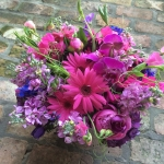Deep Purple Anemone, Lilac Stock, Magenta Gerbera Daisy, Garden Cut Pink Sweet Peas, Pink Peony, Grape Phalaenopsis Orchids, Majestic Purple Hydrangeas by Glenwood Weber Design