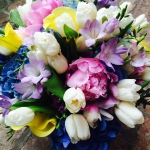 White Tulips, Yellow Calla, Blue Hydrangea, Lavender Freesia, Pink Peony by Glenwood Weber Design