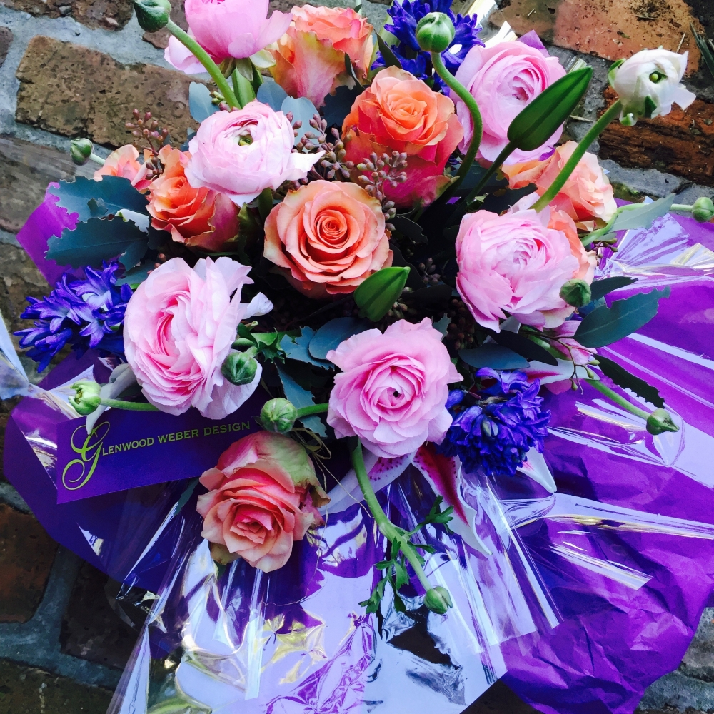 Pink Ranunculus, Samba Rose, Purple Hyacinth and Seeded Eucalyptus