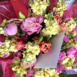 ButterCream Stock, Pink Peony, Tulips and Garden Roses by Glenwood Weber Design