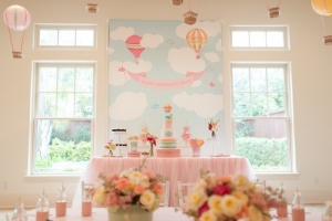 Hot Air Balloon Theme Candy and Cake table of Baby's First year Birthday Party