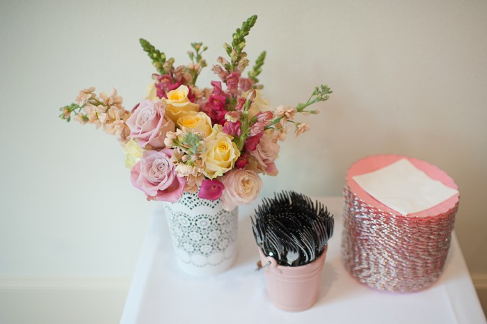 Small Spring Bouquet Vase of Garden Rose, Snap Dragons, Stock and Ranunculus