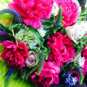 Hot Pink Peonies, Lavender Boyfriend Rose, Baby Blue Hydrangea, Blue Hyacinth, Blue Veronica and Green Hosta Foliage