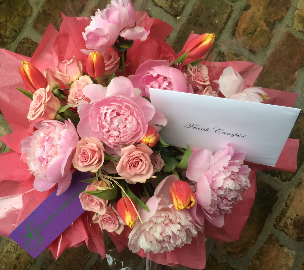Floral Bouquet, Floral Arrangement, Pink Peonies, Peach Roses, Pink and Yellow Tulips
