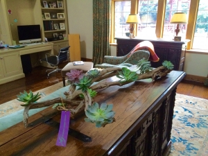 Botanical Art Multi-Level Ghost Wood Sculpture with Succulents in Tabletop Orientation