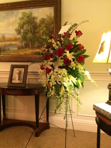 Sympathy Tribute For An American Veteran (Red, White and Blue Flowers)