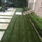 Artificial Sod ordered by Travertine Floating Step Pads and Plant Bedding