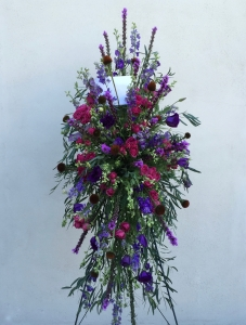 Standing Sympathy Spray Easel with Lavender Larkspur, Cone Flower, Magenta Spray Roses, Purple Liatrus and Deep Purple Lysianthus