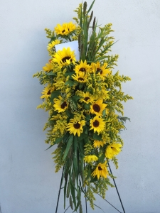 Sympathy Standing Spray Easel with Sunflowers, Goldenrod, Millet
