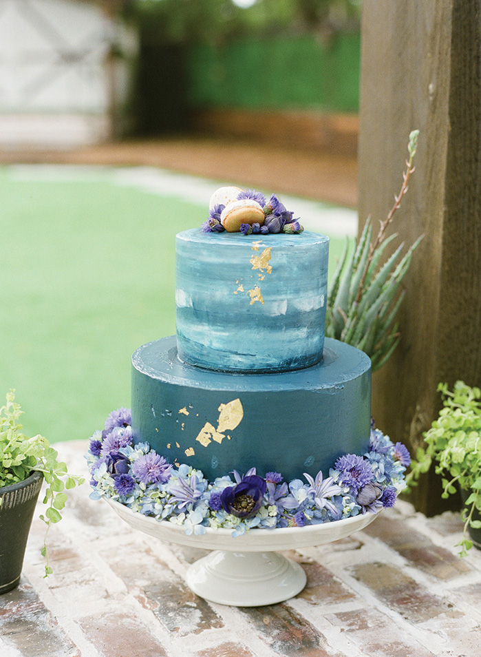 Sweet Blue Velvet Cake with Gold and Floral Accents